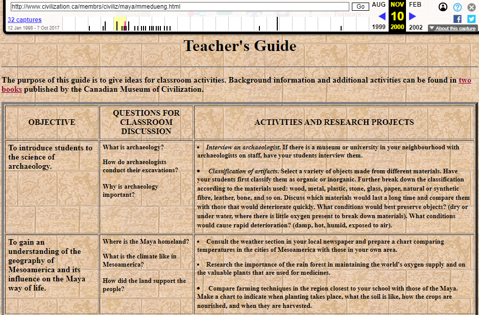 The Fragment of Snapshot of the Teacher's Guide on the Mystery of the Maya on 10 November 2000