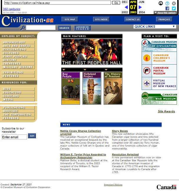 Snapshot of the main page on 7 April 2003
