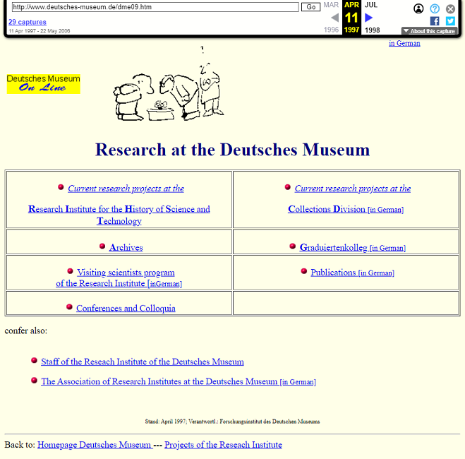 Snapshot of the Research Page on 11 April 1997