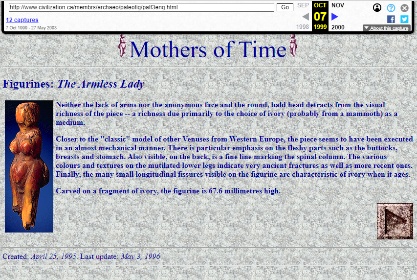 Snapshot of the Object Page from the Mothers of Time Exhibition on 9 October 1999