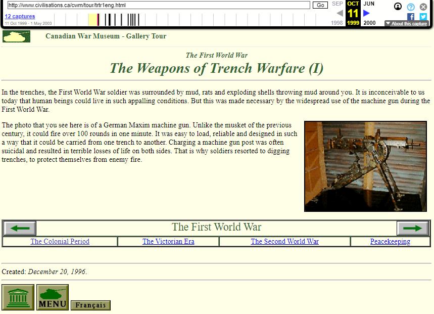 Canadian War Museum. Gallery Tour. WayBack Machine. Snapshot on 09 November 1999