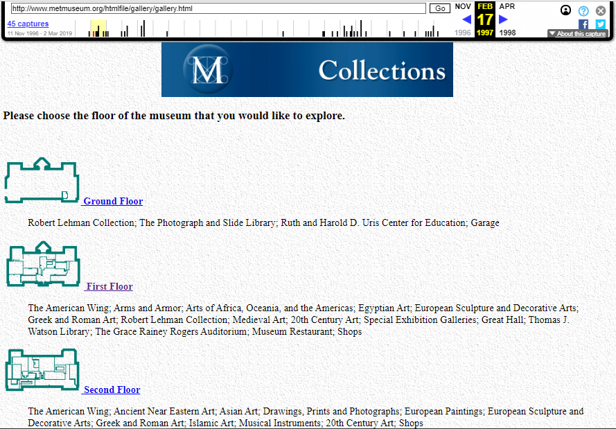 Snapshot of the Collections section on 17 February 1997