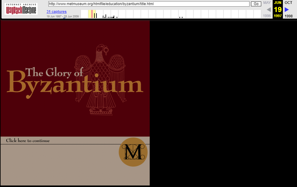 Snapshot of the initial page of the Byzantium Exhibition on 19 June 1997