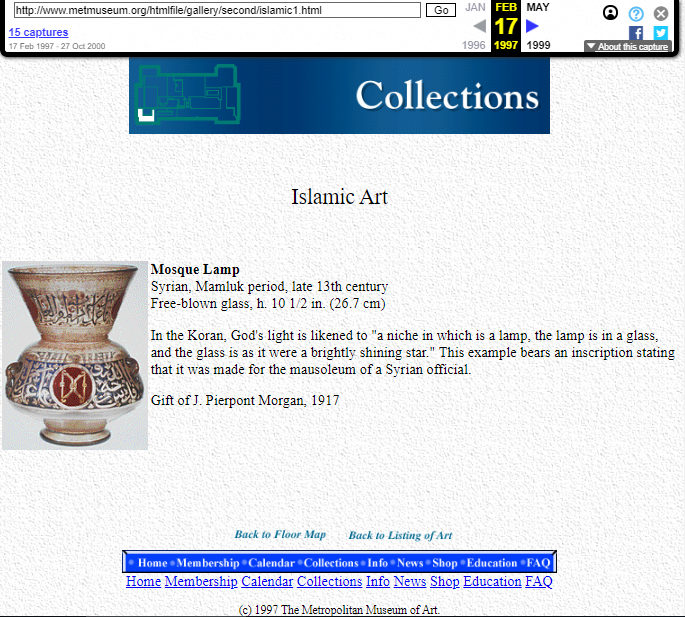 Snapshot of the page with an object from Islamic Art Collection on 17 February 1997