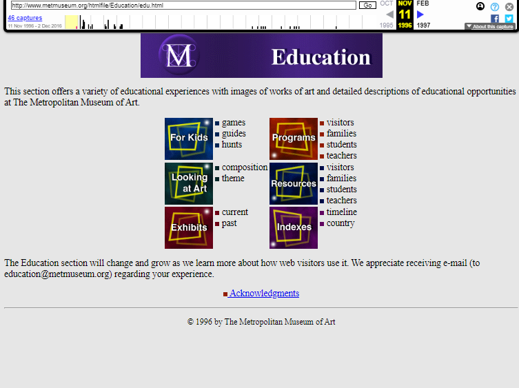 Snapshot of the Education page on 11 November 1996