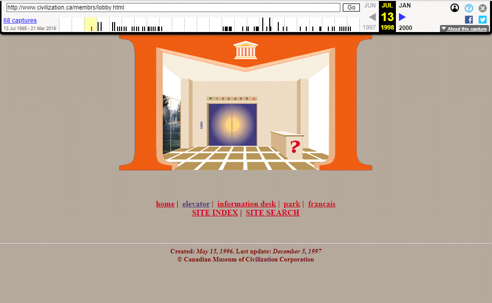 Snapshot of the main page on 13 July 1998
