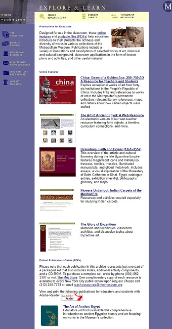 Fragment of the Snapshot of the Explore & Learn Page on 8 December 2005