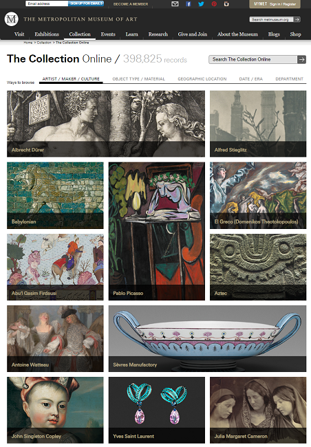 Snapshot of the Search Page for the browsing collections on 6 August 2014