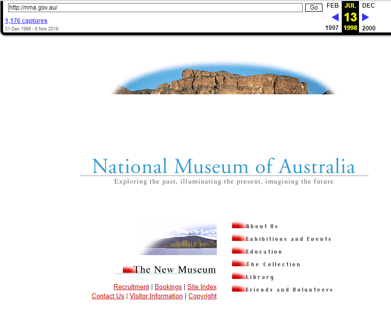 Snapshot of the Main Page of the Website on 13 July 1998