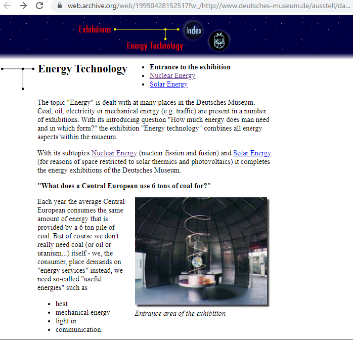 Fragment of the Screenshot of the Exhibition Page on 28 April 1999