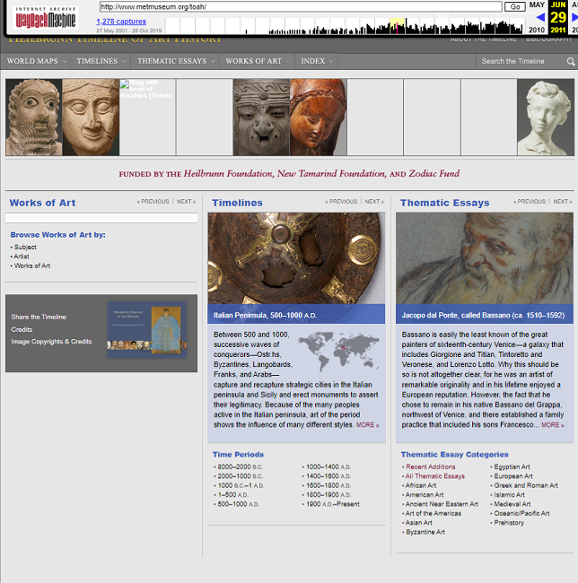 Snapshot of the Timeline of Art History on 29 June 2011