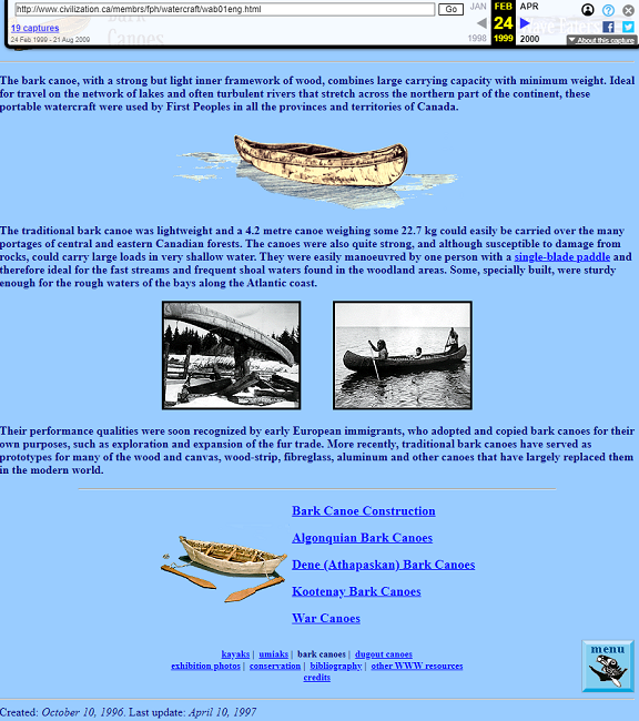 Snapshot of the Bark Canoes Topic in Wave Eaters Hall on 24 February 1999