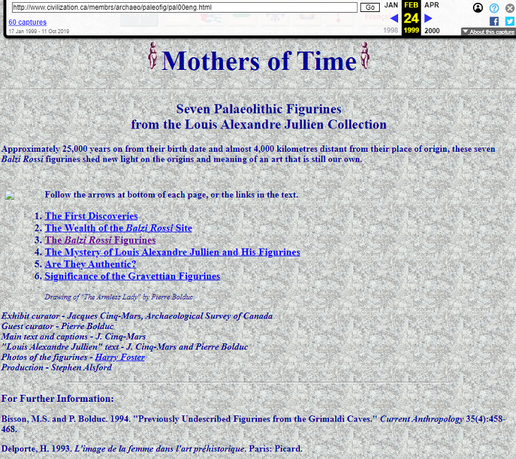 Snapshot of the Mothers of Time Exhibition on 24 February 1999