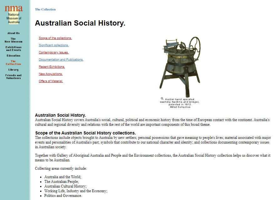 Screenshot of the Collection Page on 13 July 1998