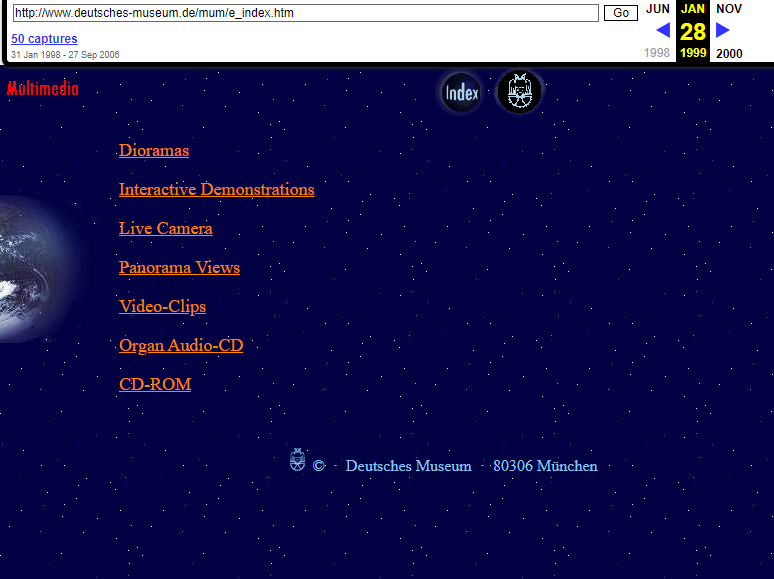 Snapshot of the Multimedia Page on 28 January 1999