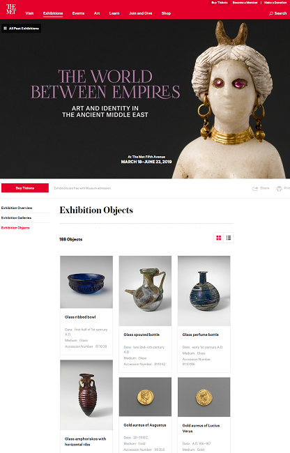 """Screenshot of the MET museum web-site. Exhibition """"The World Between Empires""""."""