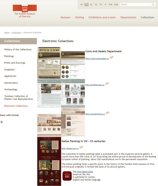 Fragment of Snapshot of the Electronic Collections Page on 4 March 2014