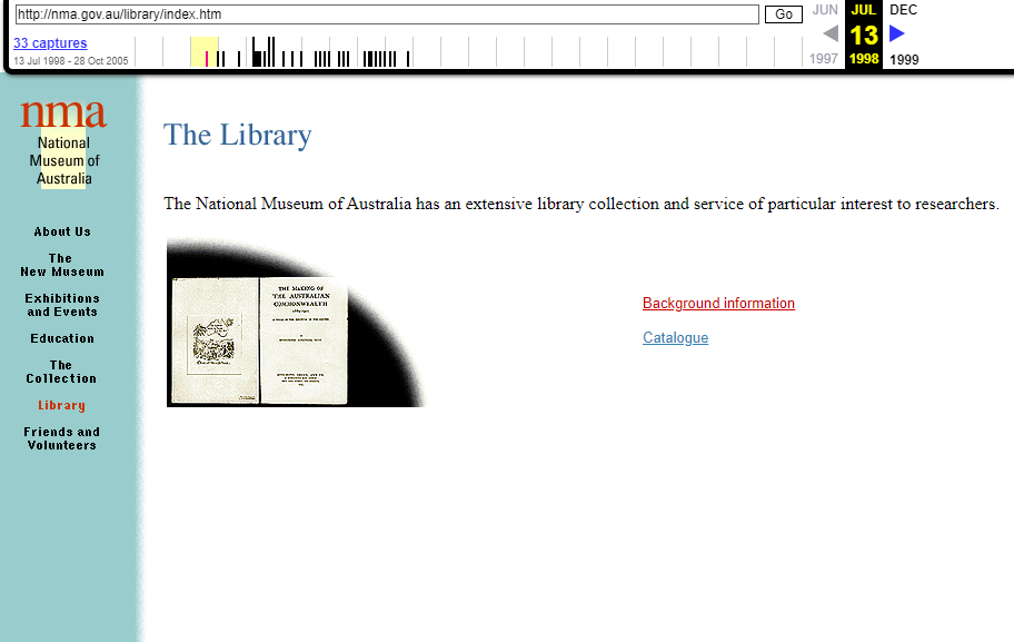 Snapshot of the Museum Library Page on 13 July 1998