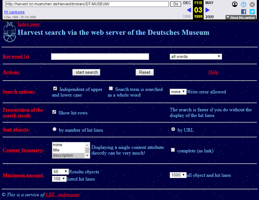 Snapshot of the Search Form on 3 February 1999
