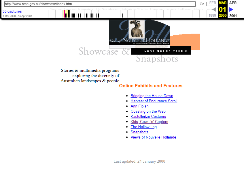 Snapshot of the Online Exhibitions List on 1 March 2000