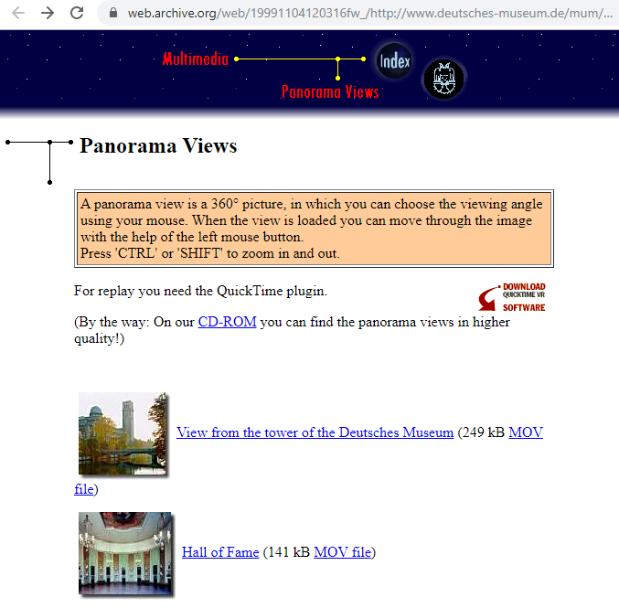 Fragment of the Screenshot of the Panorama Views on 4 November 1999