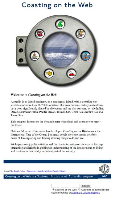 Snapshot of the Coasting on the Web Program on 29 February 2000