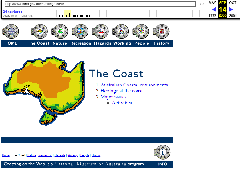 Snapshot of the Coast Chapter of the Coasting on the Web Program on 14 September 2000