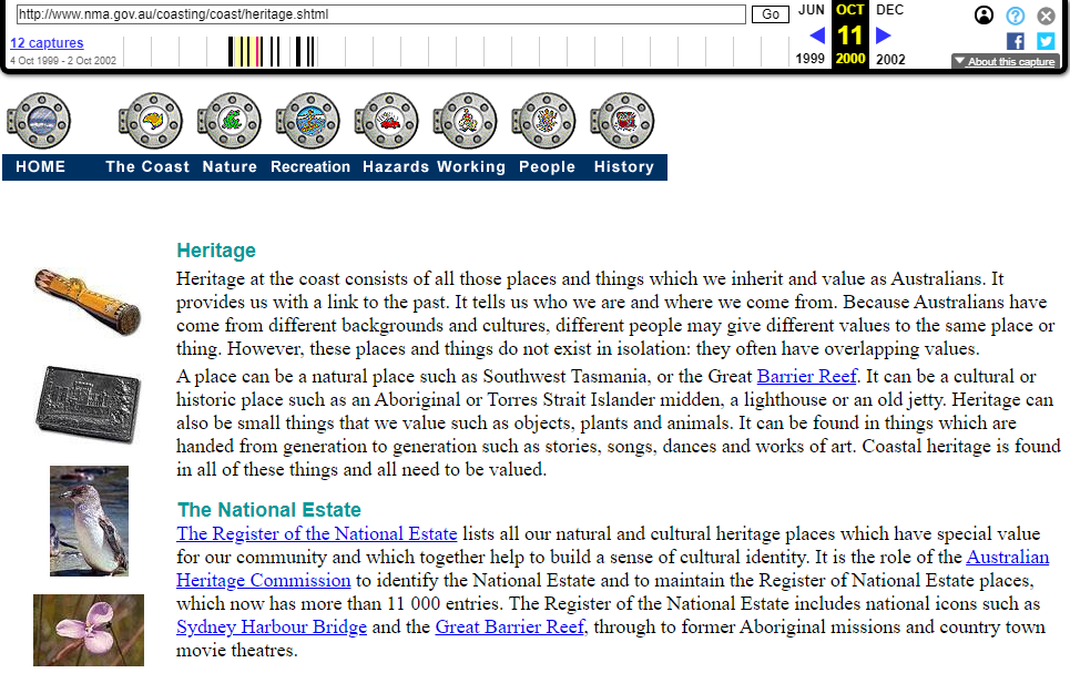 Snapshot of the Heritage at the Coast Sub-Chapter of the Coasting on the Web Program on 14 September 2000