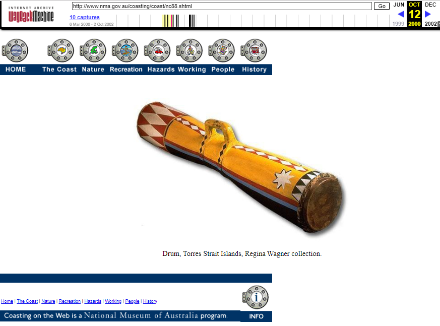 Snapshot of the Object Sample at the Coasting on the Web Program on 12 October 2000