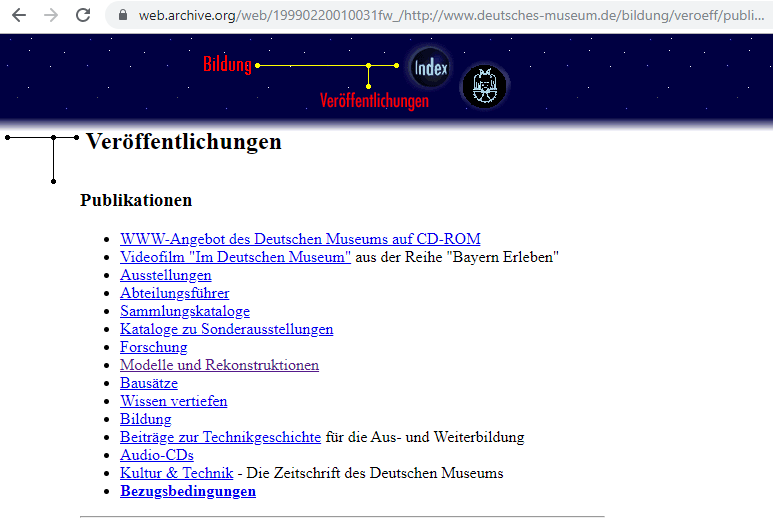 Fragment of the Screenshot of the Education Subsection on 20 February 1999