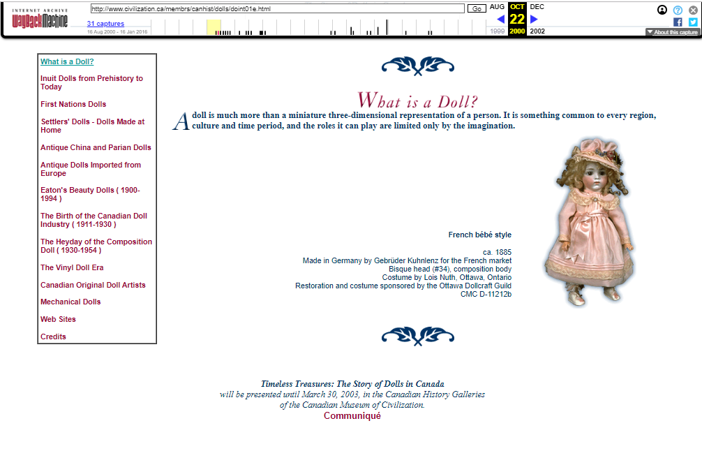 Snapshot of the What is a Doll Digital Exhibition on 22 October 2000