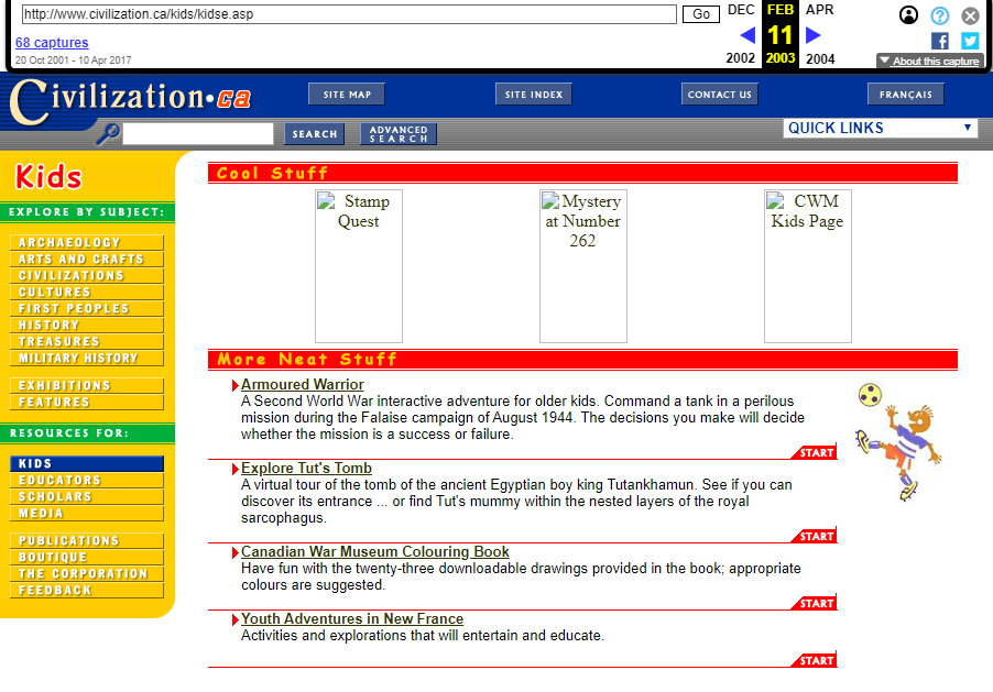 Snapshot of the Kid's Category of Visitor Interface on 11 February 2003
