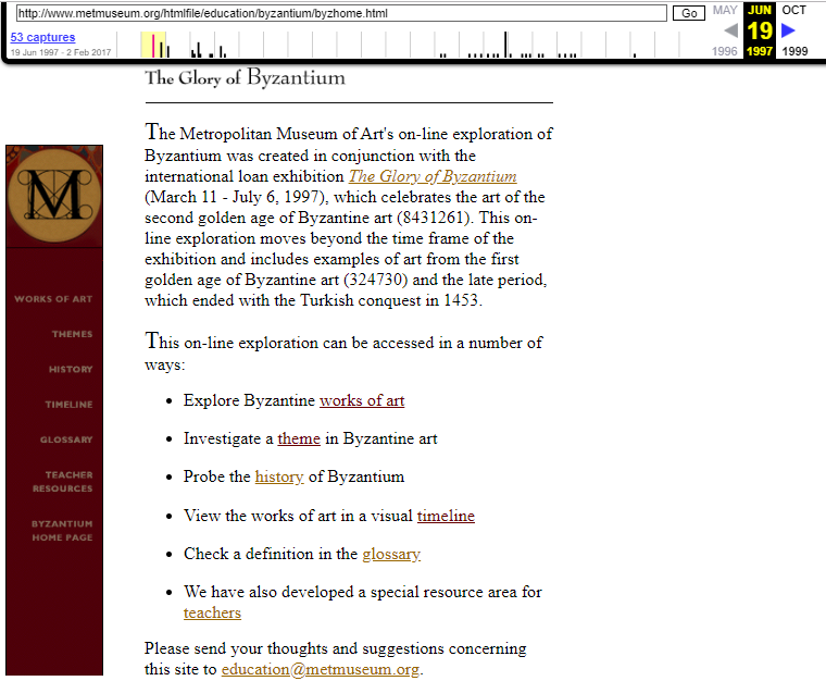 Snapshot of the page of content of the Byzantium Exhibition on 19 June 1997