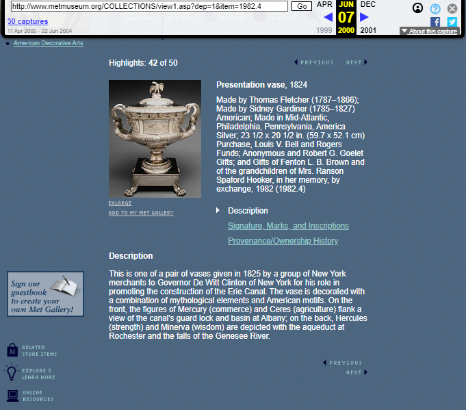 Snapshot of the page with an object from American Decorative Arts Collection on 7 June 2000