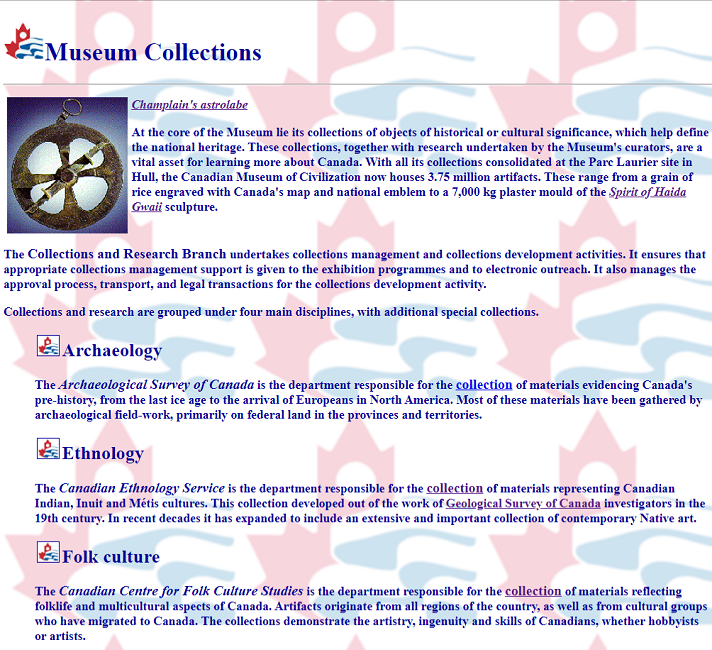 Fragment of Snapshot of the Museum Collection on 16 August 2000