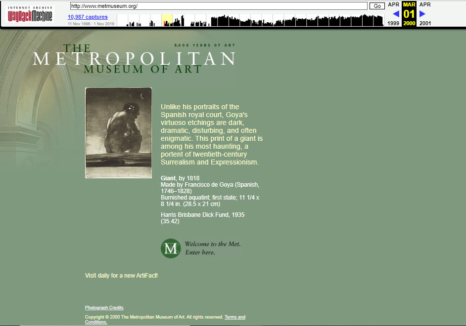 Snapshot of the main page on 1 March 2000