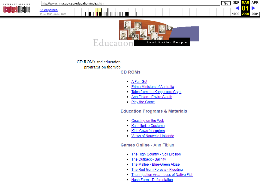 Snapshot of the Education Page on 1 March 2000