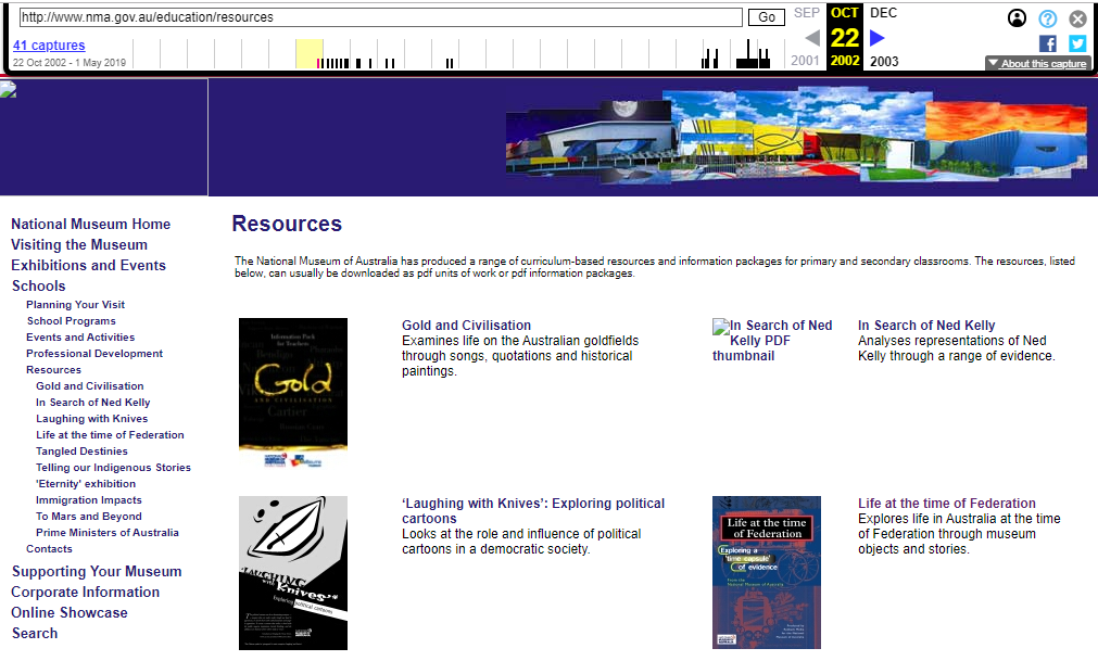 Fragment of the Screenshot of the Resources List on 22 October 2002