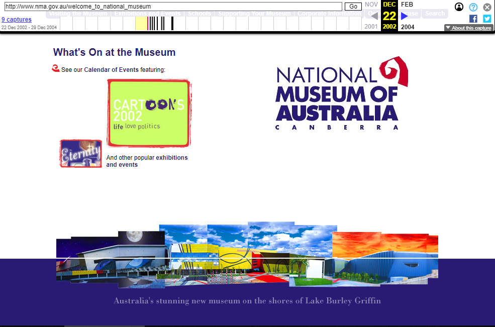 Snapshot of the Welcome Page on 22 December 2002