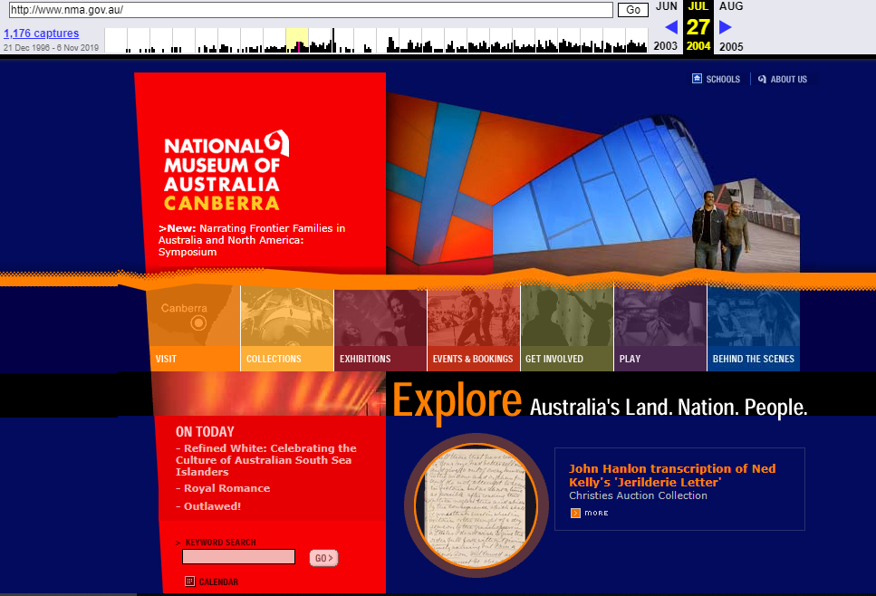 Snapshot of the Main Page on 27 July 2004