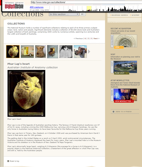 Snapshot of the Collection Page on 22 July 2004