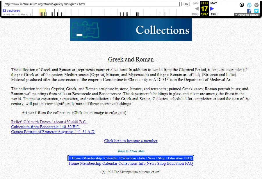 Snapshot of the Greek and Roman Art Collection's Description on 17 February 1997
