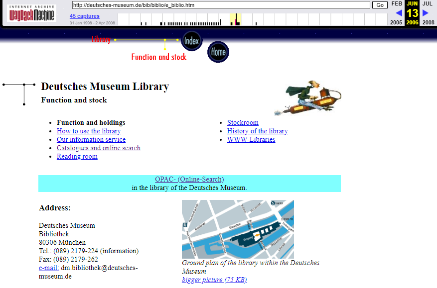 Fragment of the Screenshot of the Museum's Library Page on 13 June 2006