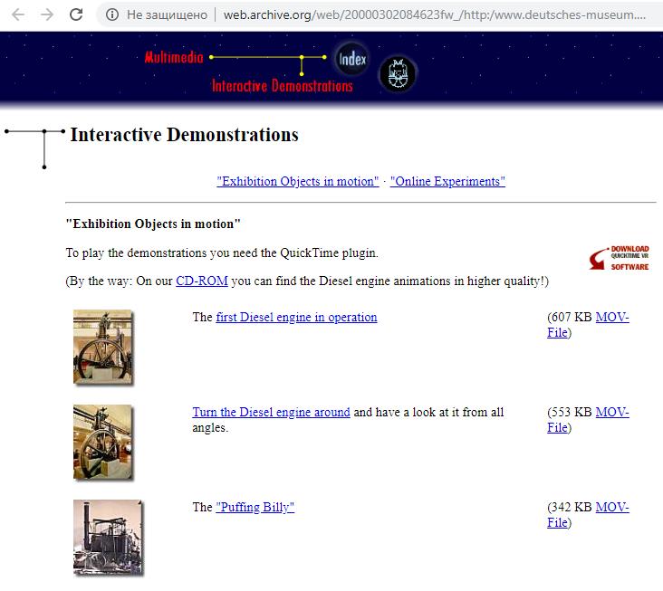 Deutsches Museum. Interactive Demonstrations. Online Experiments. WayBack Machine. Snapshot on 28 January 1999