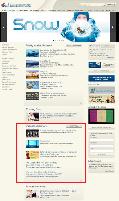 Snapshot of the Main Page of the Website on 8 March 2014