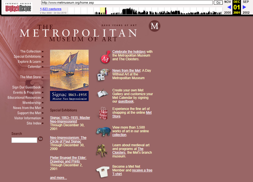 Snapshot of the main page on 11 December 2001
