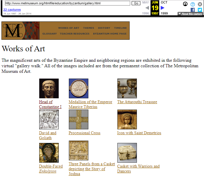 Snapshot of the Art Works of the Byzantium Exhibition on 19 June 1997