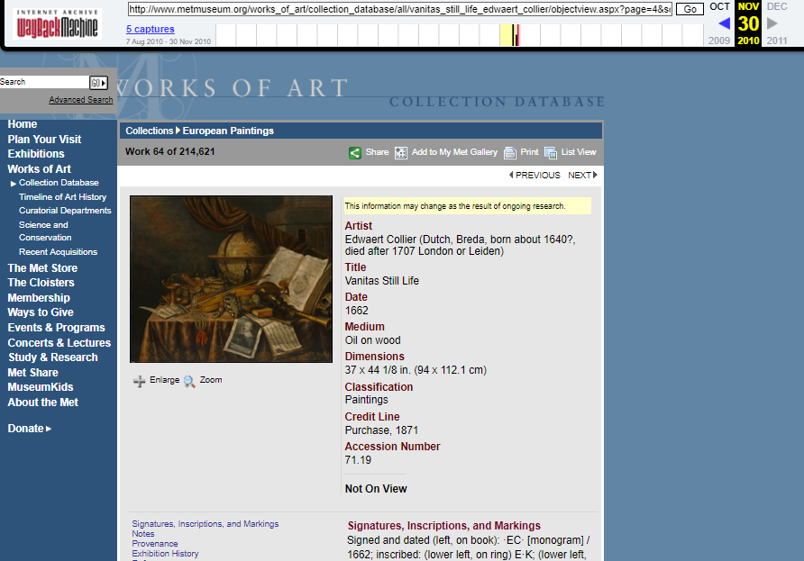 Snapshot of the page with an object from European Painting Collection on 30 November 2010