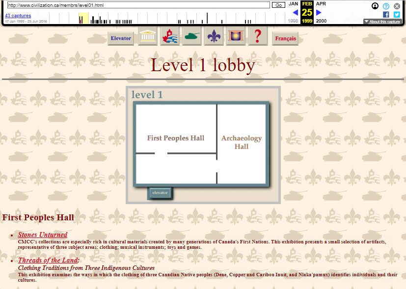 Snapshot of the First Level on 25 February 1999
