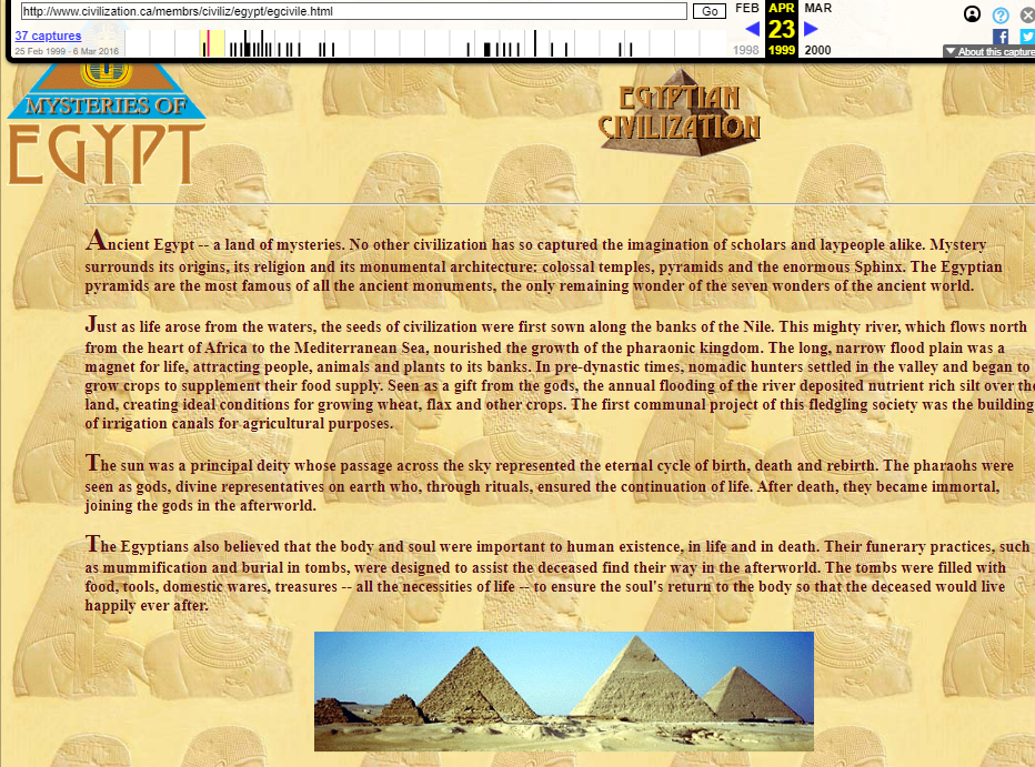 Fragment of the Snapshot of the Egyptian Civilization Chapter from the Mysteries of Egypt Digital Resource on 23 April 1999